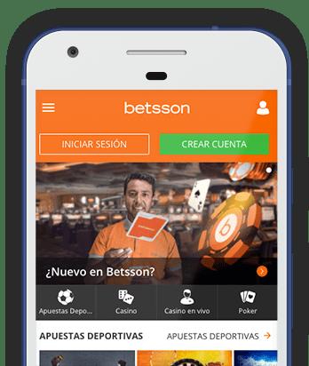 Captura pantalla móvil Betsson en Bolivia
