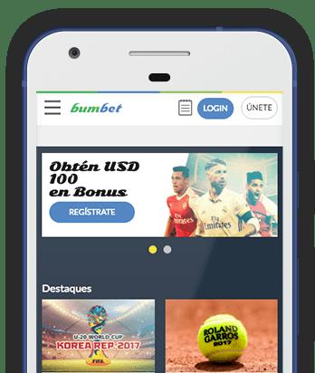 Captura pantalla móvil Bumbet en Bolivia