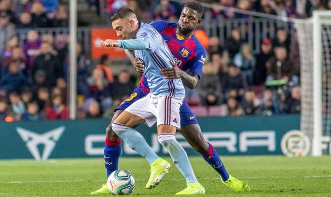 Celta Vigo vs Barcelona, Iago Aspas y Samuel Umtiti