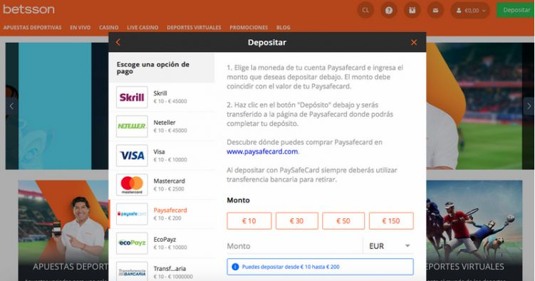 Realizar depósitos con Paysafecard